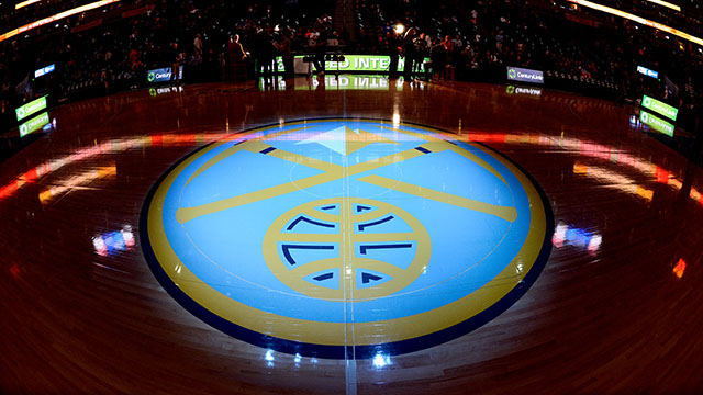 DENVER, CO - DECEMBER 17: The Denver Nuggets logo before the game against the Oklahoma City Thunder on December 17, 2013 at the Pepsi Center in Denver, Colorado. NOTE TO USER: User expressly acknowledges and agrees that, by downloading and/or using this Photograph, user is consenting to the terms and conditions of the Getty Images License Agreement. Mandatory Copyright Notice: Copyright 2013 NBAE (Photo by Garrett W. Ellwood/NBAE via Getty Images)